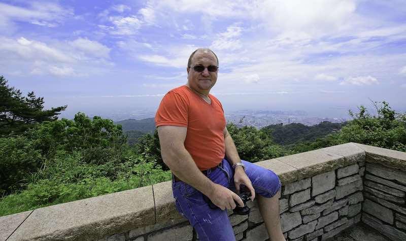 John Eather on Mt. Rokko with Camera
